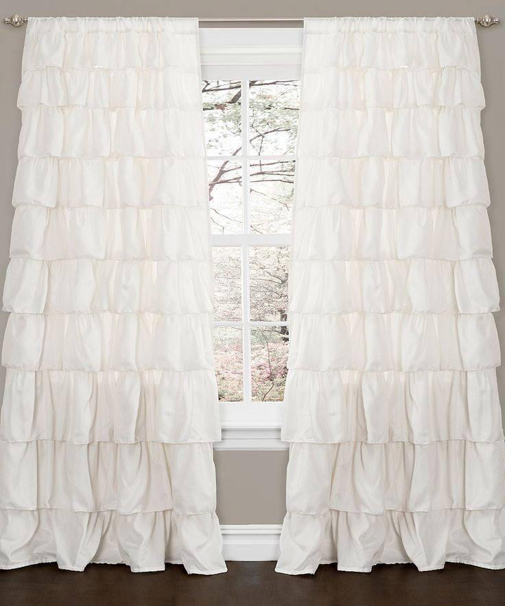 Ivory Ruffle Window Curtain Panel
