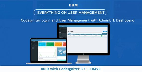 PHP Login and User Management with Codeignitor and Admin LTE user interface . EUM  is a PHP application built up around the CodeIgniter framework(version 3.1.0), that allowing the registration and administration of users.It can be used as a base platform for any CodeIgniter based web applications. Its provide secure login, authentication, authorization and complete user