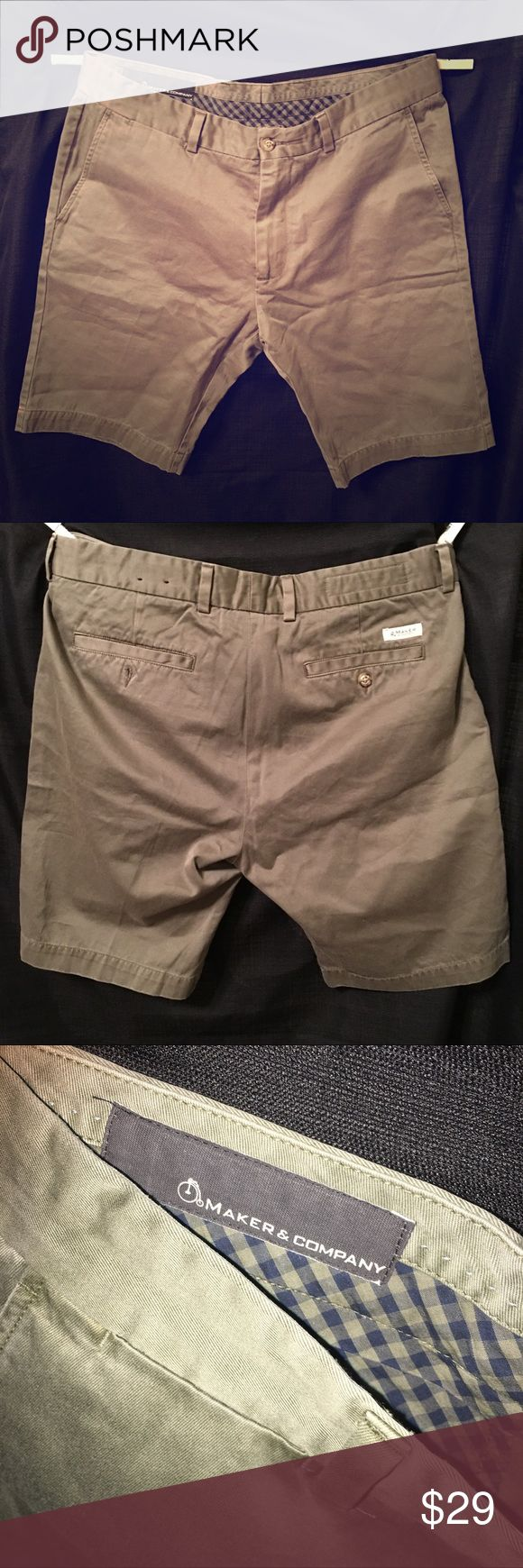 """Maker company men's shorts hunter green NWOT 34W NWOT MAKER CO. Men's 100% cotton """"TAILORED CUT"""" shorts. 34"""" waist. Hunter/Sage green. Impeccable condition. Tried on and never touched again. Hits about 1-2"""" above the knee my husband is 5'11"""". Maker & Co Shorts Flat Front"""