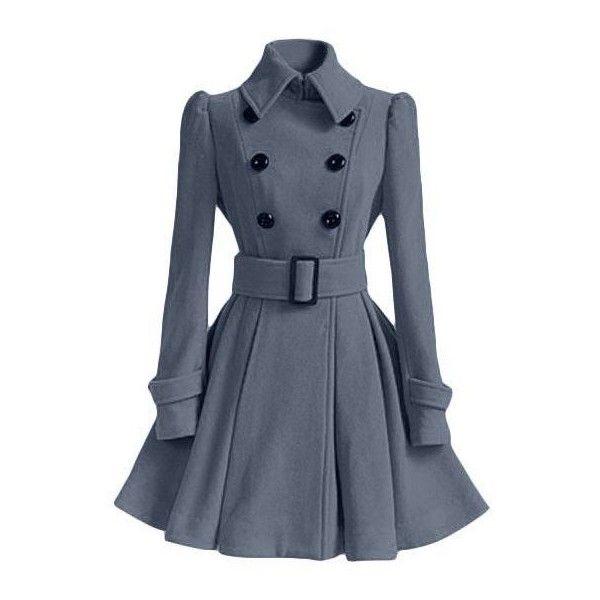 Fit and Flare Peacoat ❤ liked on Polyvore featuring outerwear, coats, blue pea coat, pea coat, peacoat coat, blue coat and pea jacket