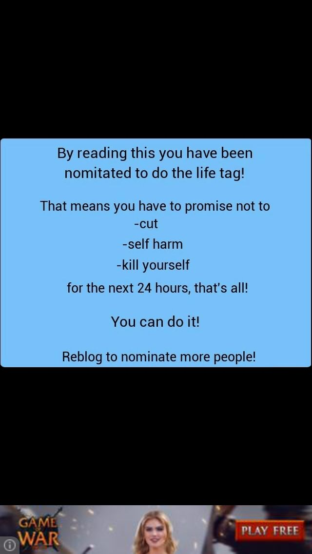 I NOMINATE YOU RANDOM READER!!!! I LOVE YOU AND YOU CAN WIN THIS FIGHT!!!<<<COME PEOPLE TAG PEOPLE YOU KNOW