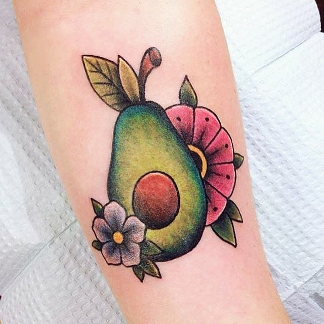 Why not opt for a floral avocado tattoo to show off your quirky appreciation?