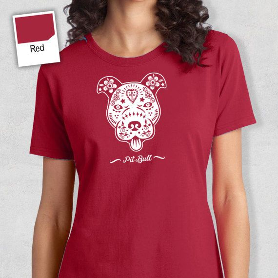 Pitbull Sugar Skull Shirt Gift Tshirt Tee Sugar by RareOccasions