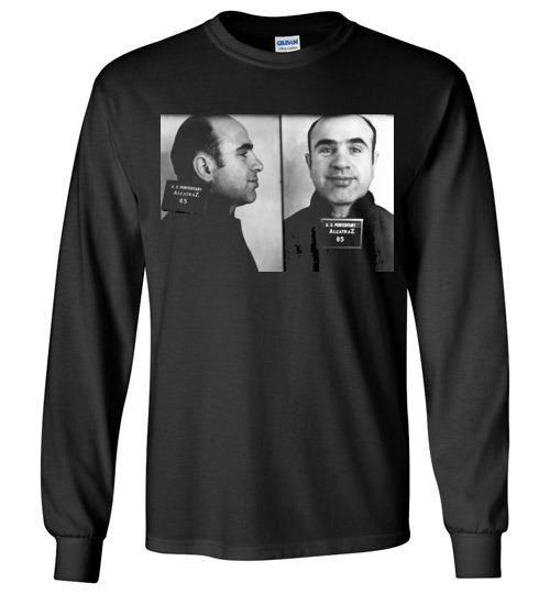 Al Capone Alcatraz Mugshot 1934 ,Scarface, Big Al, Big Boy, Public Enemy No. 1 , Chicago, Gangster, v1, Gildan Long Sleeve T-Shirt