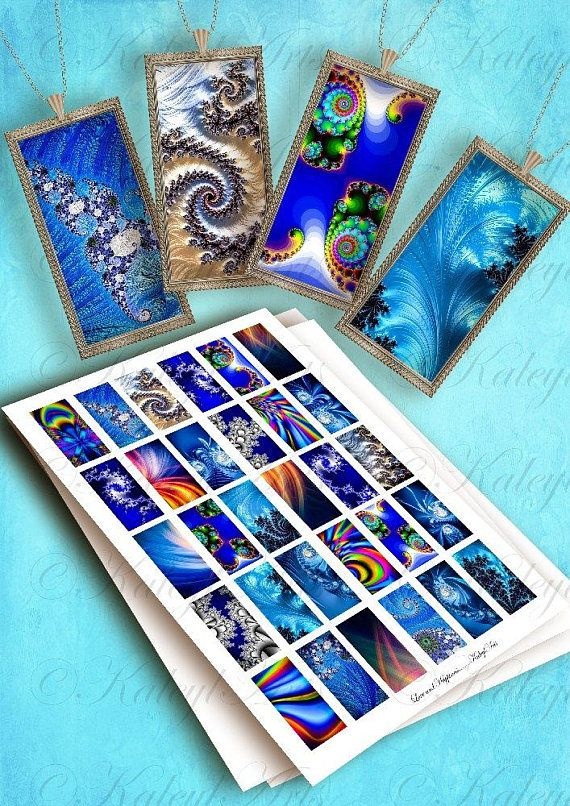 Printable Digital Download Domino Pendant 1 X 2 Inch Size Pictures Collage Sheet For Glass Quartz Acrylic Pendant Trays Fractal Art Boho Picture Collage Collage Sheet Fractal Art