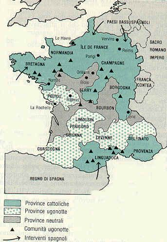 1562 – France recognizes the Huguenots by the Edict of Saint-Germain | religious map of france during the wars of religion the