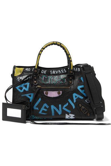 Balenciaga - Classic City Printed Textured-leather Tote - Black