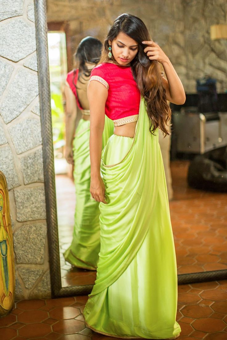 Plain lime green satin georgette saree | House Of Blouse