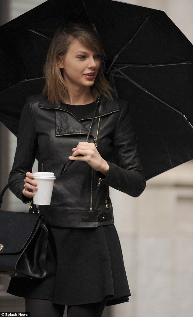 05f86c76b Taylor Swift looks gorgeous in leather jacket and skirt to brave ...