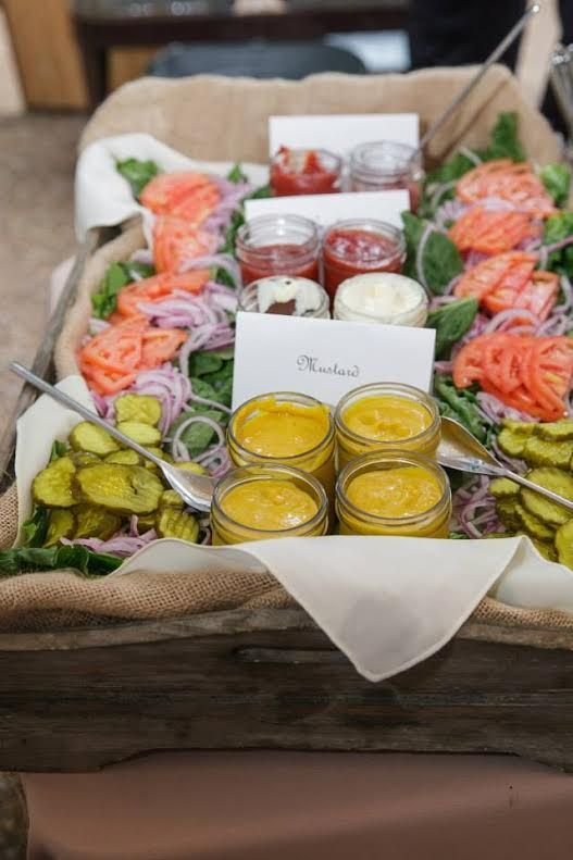 Condiment tray that goes along with the hamburger sliders! What a great idea for summer entertaining.