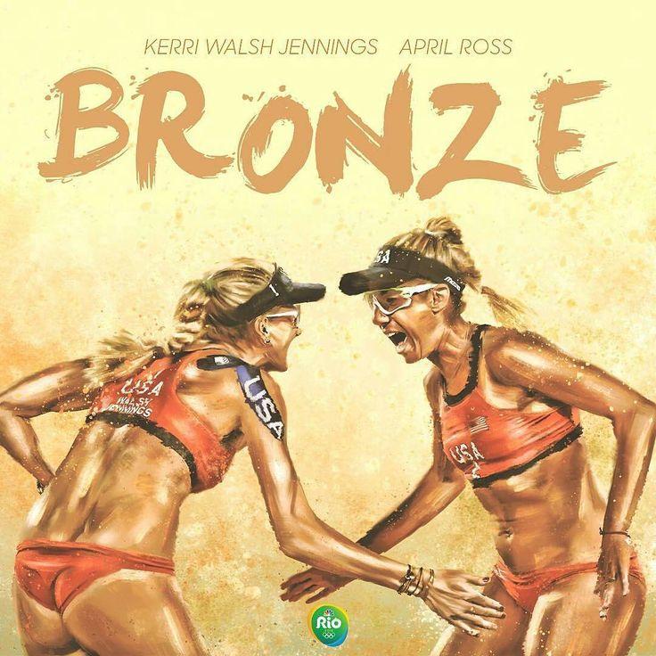 @Regrann from @nbcolympics -  Kerri Walsh Jennings and April Ross win bronze in…