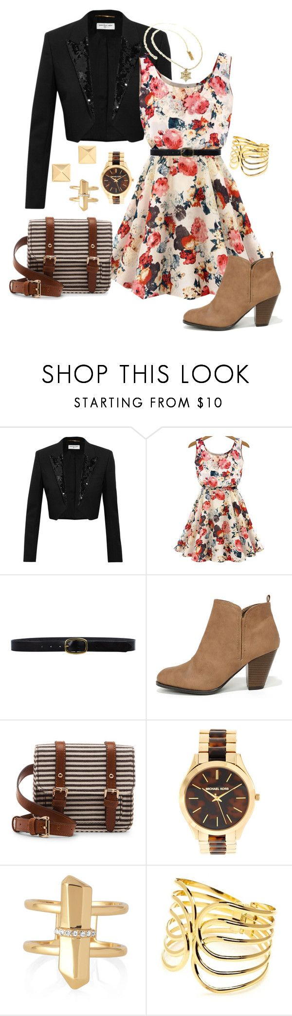 """""""Flowers & Stripes"""" by bebe6121985 on Polyvore featuring moda, Yves Saint Laurent, Linea Pelle, Qupid, Vince Camuto, Sole Society, Michael Kors, Stella & Dot i New Directions"""