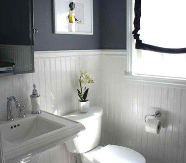 salle de bain grise soubassement lambris peinture blanche laque blanche salle de bains gris. Black Bedroom Furniture Sets. Home Design Ideas