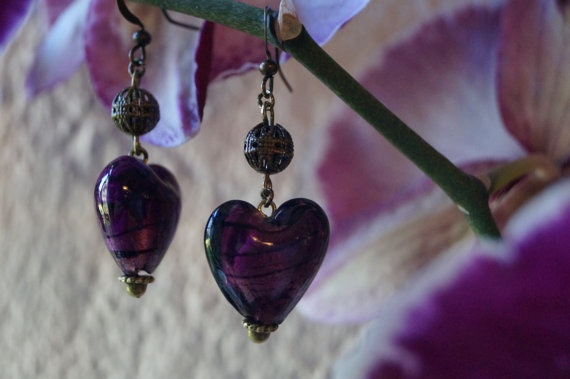 Purple Glass Heart Beaded Earrings by AMagpiesDesires on Etsy, $8.00