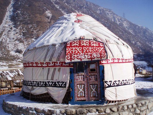 A yurt... a portable, bent wood-framed dwelling structure traditionally used by nomads in the steppes of Central Asia.