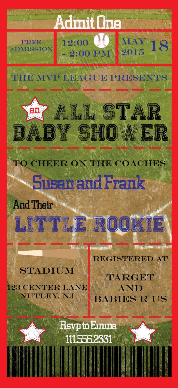 Baby Shower Baby Sprinkle Invitation: Baseball Theme Game Ticket Invitation Baby Boy Neutral Printable Sports Stadium Invitation by MagicalCelebrations1 on Etsy