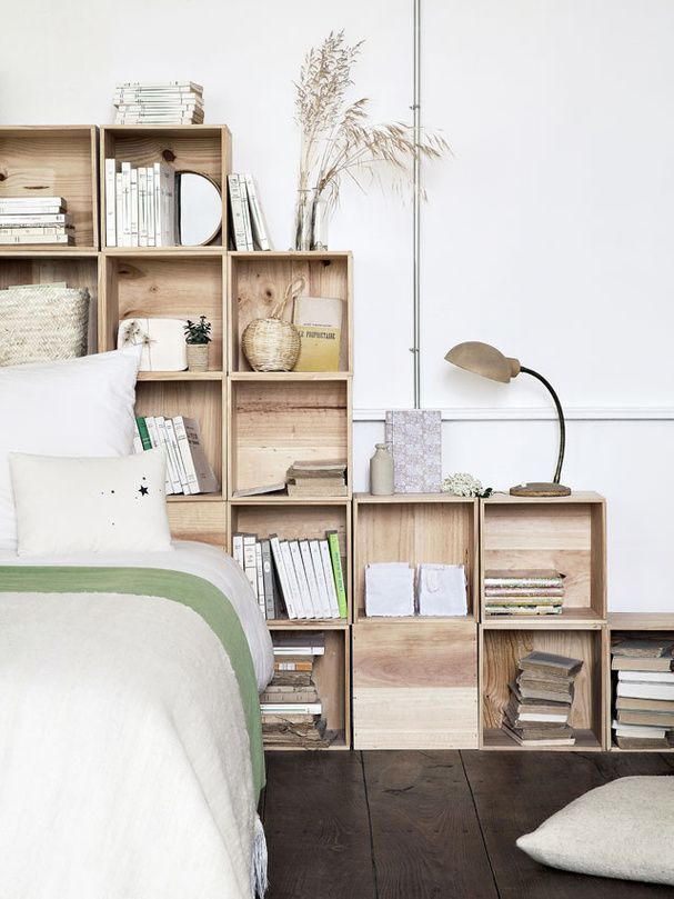 Bedroom - DIY Inspiration - Crates for storage as a Headboard, genius idea!