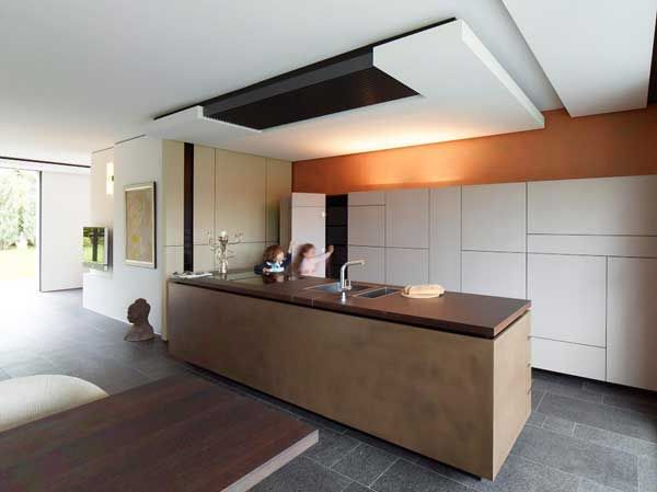 Architecture, Architecture Home Interior Design Contemporary Kitchen Island Cabinet Beadboard Wall Lights Tap Dining Table Budha Head Painti...