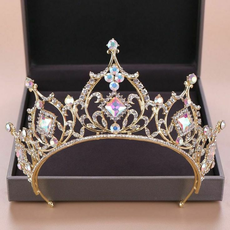 Details about Fashions Tiaras Crown Bride Hair Accessories Colorful Crystals Wedding Headpiece