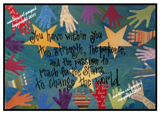 Kids painted the background & traced & cut out hands. An artist hand lettered the quote. Great idea for wing bulletin board!