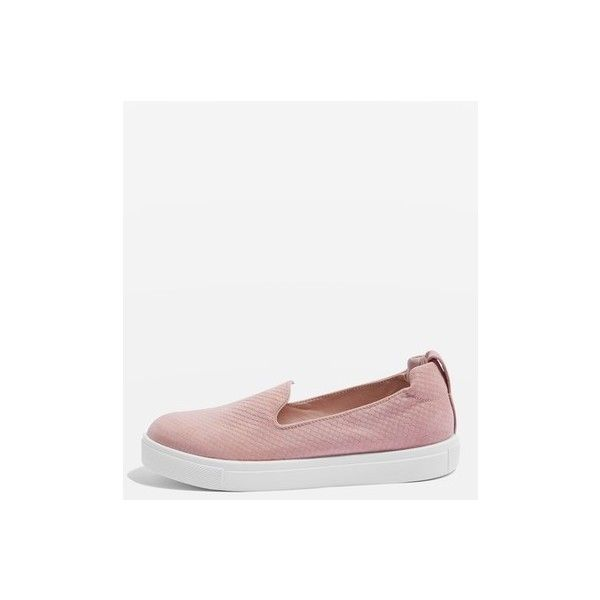 Topshop Temp Anaconda Slip on Trainers (£20) ❤ liked on Polyvore featuring shoes, sneakers, nude, elastic shoes, slip on trainers, slip-on shoes, pull on shoes and pull on sneakers