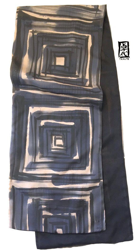 Large Reversible Mens Silk Scarf Handpainted by SilkScarvesTakuyo