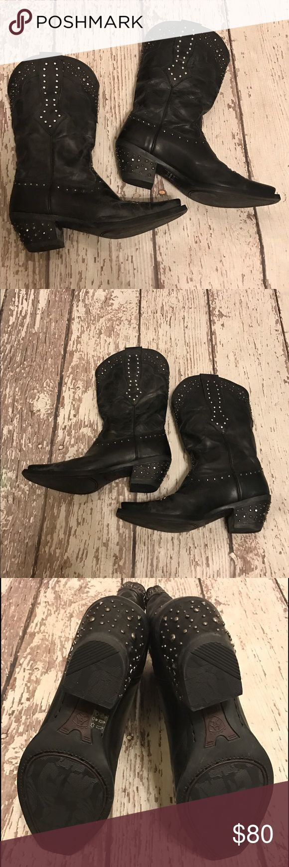 Black Rhinestone Studded Cowboy Boots Weathered black rhinestone cowboy boots. Worn once to sing in at the Oklahoma Opry. Perfect condition. Price is negotiable. Ariat Shoes