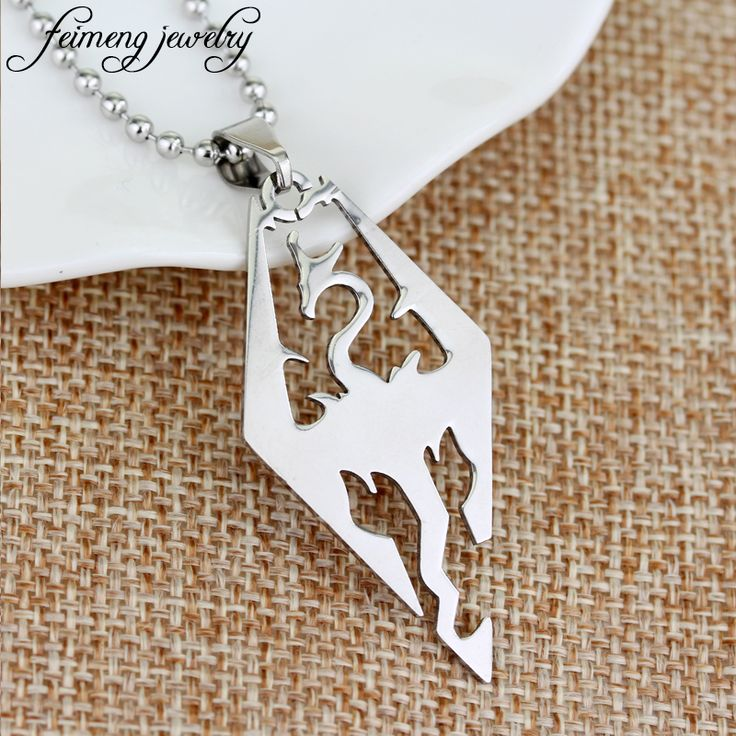 feimeng jewelry The Elder Scrolls V Skyrim Necklace Fashion TES Dragon Pendant Necklace For Men Charm Cool Accessories #Affiliate