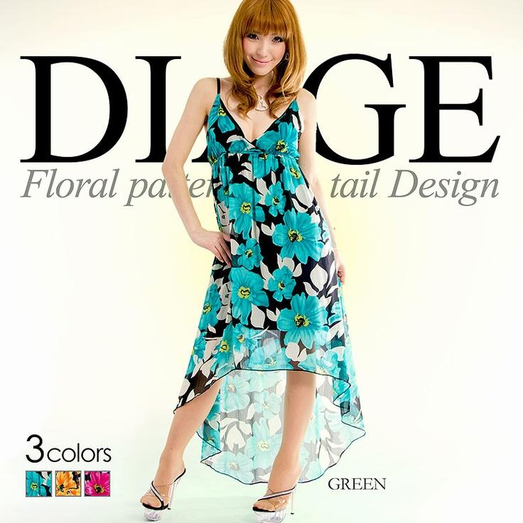[全3色]フィッシュテール花柄シフォンロングドレス