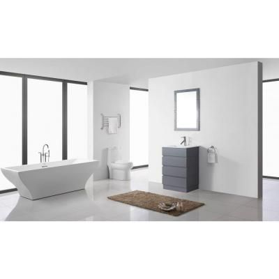 Photos On Virtu USA Bruno in Vanity in Grey with Ceramic Vanity Top in White and Bathroom Vanity CabinetsSingle