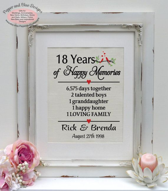 18th wedding anniversary gifts 18 years by pepperandbluedesigns