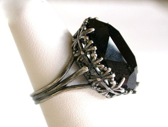 Black Gothic Ring - Jet Black  Swarovski - More Colors - Victorian Gothic Jewelry