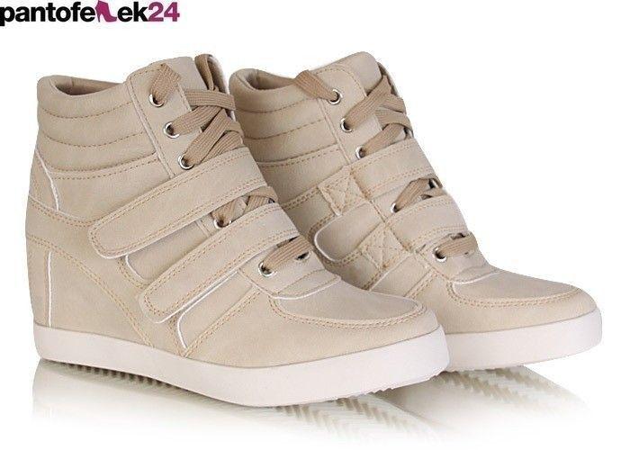 Beżowe koturny / Beige sneakers / 49,90 PLN #sneakers #beige #autumn #spring #fashion