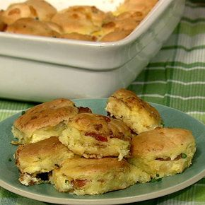 Bacon Egg & Cheese Biscuit Casserole. Recipe for cheddar chive biscuits, + for casserole: bacon, eggs, milk, seasonings, chives, cheddar