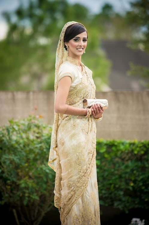 White and gold lace sari - lace is classy, and check out the blouse collar