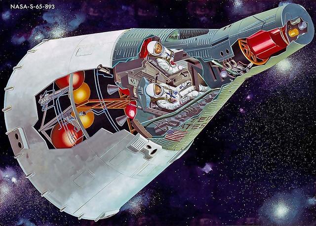 Cutaway of a Gemini capsule with its service module.