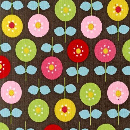 Kaufman, Cool Cords, BROWN LOLLI POP Flowers Corduroy.