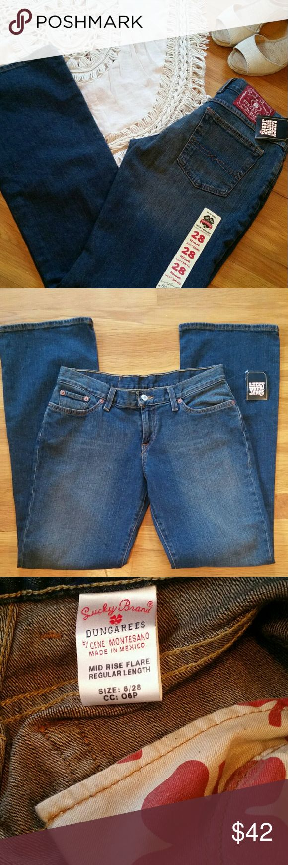 "~HP~ NEW!! Lucky Brand Dungaree Jeans New with tags, Lucky Dungaree jeans, mid-rise flare, size 6 (28), with 31"" inseam. Host pick. Happy to discount bundles!!! Lucky Brand Jeans Flare & Wide Leg"