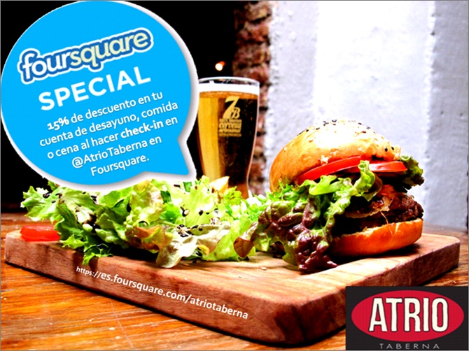 -15% en tu cuenta de alimentos al hacer check-in en @AtrioTaberna por Foursquare =D