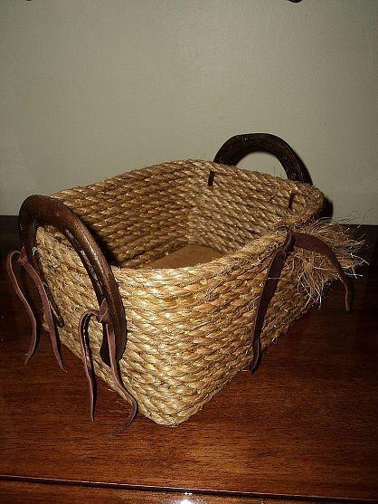 Rope Basket With Worn Horseshoes