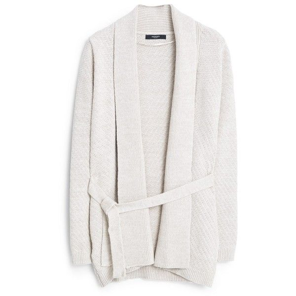 Cotton-Blend Cardigan (72 CAD) ❤ liked on Polyvore featuring tops, cardigans, white cardigan, mango tops, chunky cable knit cardigan, cable cardigan and mango cardigan