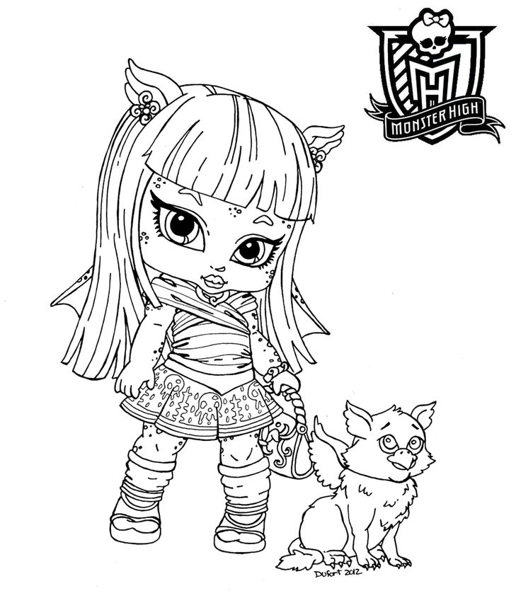 baby monster high coloring pages dibujo de baby rochelle goyle de las monster high para - Monster High Chibi Coloring Pages