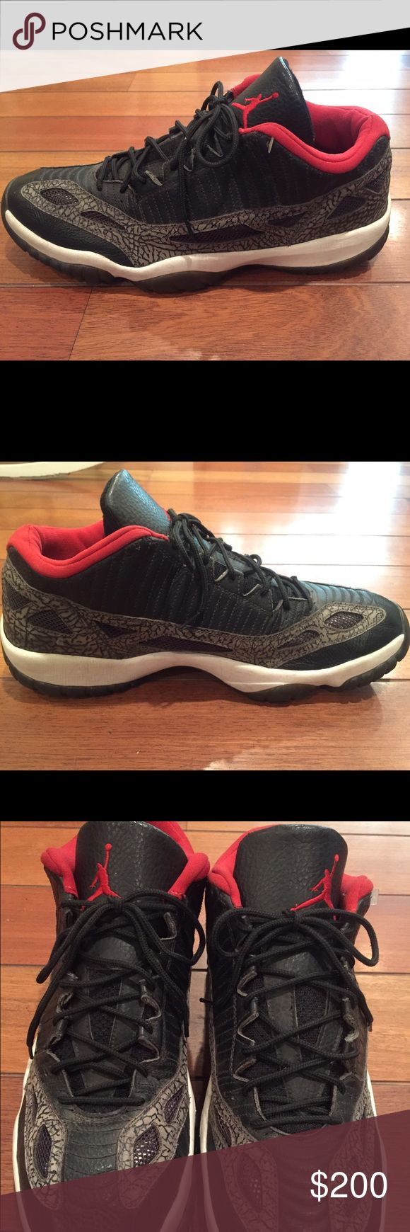 Air Jordan XI 11 Retro 2003 Size 18 Nike air Jordan XI retro low black/red-dark Charcoal 2003 306008-062 size 18. Great condition. Inside like new, bottoms clean and no scuffs. Minor creasing from storage on left toe. Some discoloration on the white but easy to clean. Nike Air Jordan Shoes Sneakers