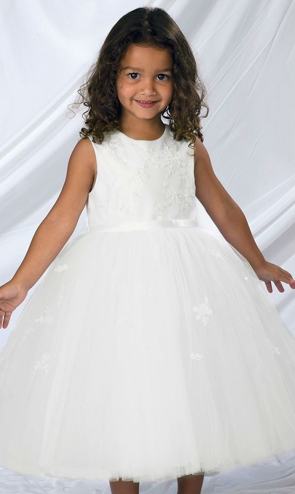 aa7fe02d9 SARAH LOUISE White Embroidered Soft Tulle Flower Girl Dress. The satin  bodice is covered with delicate embroidery and topped with beads and  sequins, ...