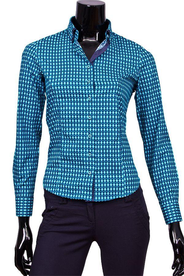 Бирюзовая женская рубашка с двойным воротником купить недорого в Москве