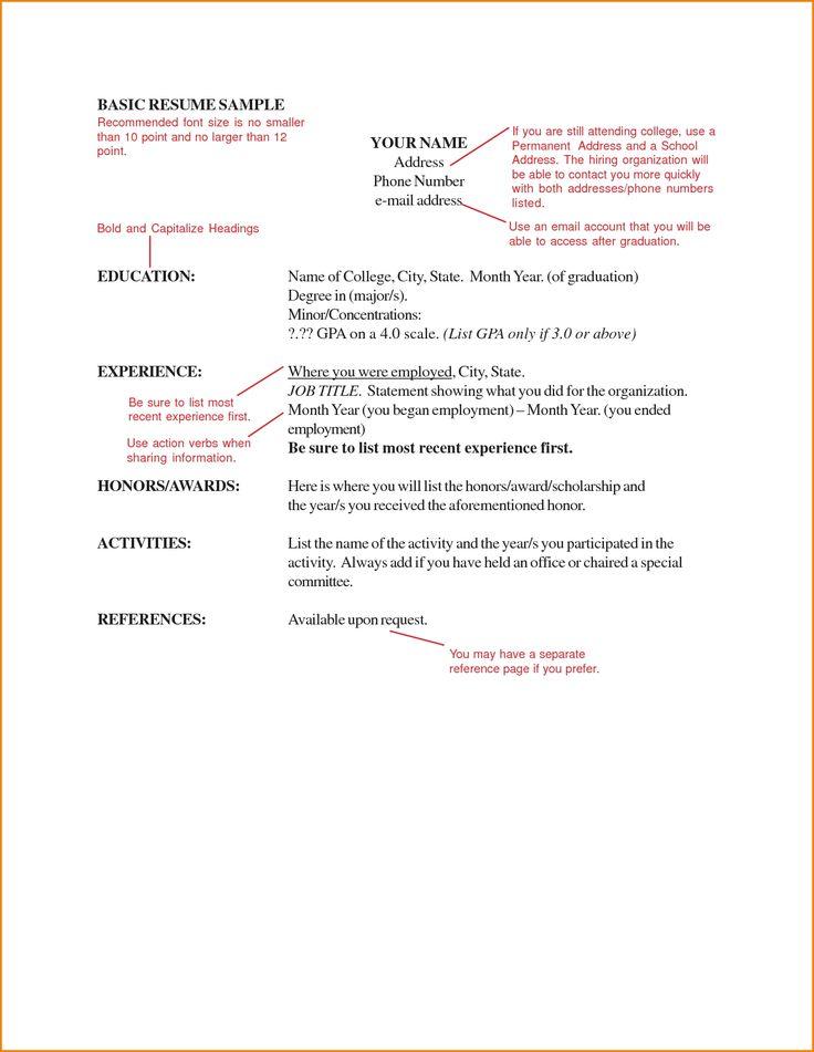 The  Best Basic Resume Format Ideas On   Resume