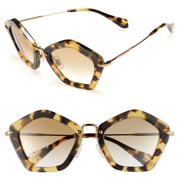 Miu Miu Geometric Sunglasses ($370) ❤ liked on Polyvore