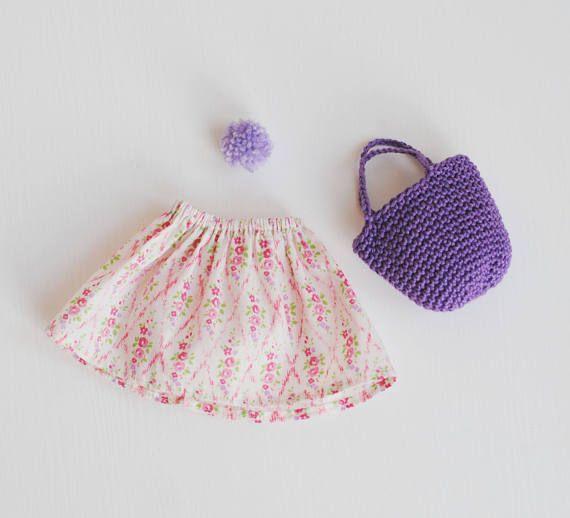 rag doll skirt with crochet basket, rag doll clothing, Liberty of London, dress up doll, pompon doll