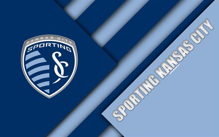 Download wallpapers Sporting Kansas City, material design, 4k, logo, blue abstraction, MLS, football, Kansas City, Kansas, USA, Major League Soccer