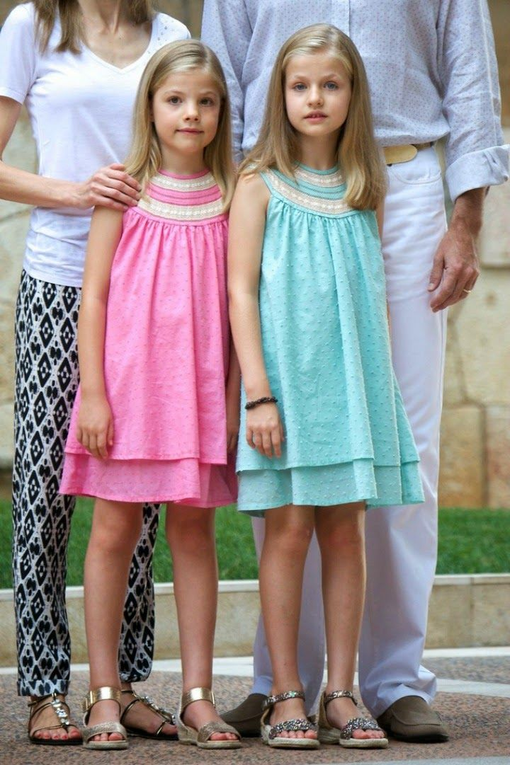 05 August 2014 King Felipe, Queen Letizia and their daughters posed for the media at the start of the summer holiday at palace Marivent on Palma de Mallorca